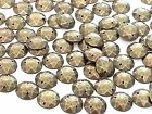 100 x ROUND Acrylic BRASS sew on, stitch on, stick on STUDS, Gems