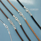 "Sterling Silver 2mm Round Genuine Leather Cord Necklace W/lobster Clasp [12-40""]"