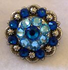 Antique Berry Concho ~ Hand Crafted with Dark and Light Blue Swarovski Elements