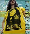 Tee Shirt Femme Hell Head  Happiness is a Choice JAUNE, Mode, Vintage, cannabis