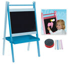 Children's Wooden Blackboard and Easel with Accessories - Pink-Blue-White