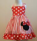 Minnie Mouse Brigth Red And White Polka And Stripe Halter Dress Sizes 12M To 6Y