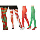 Womens Elf Tights Santa Christmas Xmas Striped Tights Stripy Fancy Dress