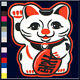 FLOCKED Maneki Neko Good Luck Cat T-Shirt S,M,L,XL,2X,3X,4X,5X 100% Cotton New