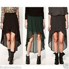 New Women/Girls Chiffon Sexy Elegant Asymmetric Long Elastic Waist Band Skirt-AS