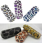 C6A Reading Glasses Metal Case & Leopard Pattern Design & PVC Faux Leather Cover