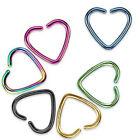 One Titanium Anodized Fake Cartilage Clip-On Single Closure Heart Ring