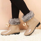 Free Shipping Women's Shoes Warm Fur Rubber Rain Boots Winter Snow Ankle Boots