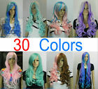 NEW (30 colors) Multi Color long Wavy Girl Women Cosplay Wig With hairnet   {UK}