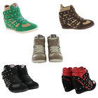 NEW LADIES WEDGE HIGH TOP HEEL STARS LACE UP ANKLE BOOTS WOMENS SHOES TRAINERS