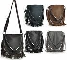 New Silver Studed V Shape Cowgirl Fringe Messenger Cross Body Womens Handbag