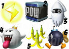 MARIO STICKER WALL DECAL OR IRON ON TRANSFER TSHIRT FABRICS POW KING BOO BOMB