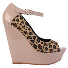 NEW LADIES LEOPARD NUDE PATENT FAUX SUEDE WOMENS PLATFORM WEDGE SHOES SIZE 3-8
