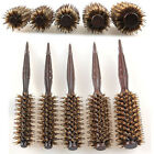 Pure Natural Boar Bristle Round Hair Brush Wooden Handle Rollers Curlers Curling