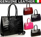 New Genuine Italian Leather Mock Croc Briefcases Laptop Satchel Shoulder Handbag