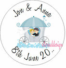 PERSONALISED WEDDING DAY BLUE CARRIAGE STICKER SEAL GIFT FAVOUR INVITE WDSC24
