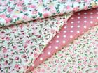 Pure cotton fabric PINK FLOWER FLORAL SPOT shabby chic patchwork dress bunting