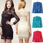 Black White V Neck Lace Slim Clubbing Party Cocktail 3/4 Sleeve Dress Skirt J