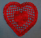 Hand Dyed Thread Crocheted Lacy Heart Doilies Doily