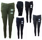 WAKEE COLOURED SKINNY LEG CARGO JEANS. KHAKI, BLUE, BLACK, GREY.