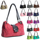 Big Handbag Shop Womens New Italian Suede Twin Strap & Buckle Mini Shoulder Bag