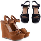 NEW LADIES HIGH WEDGE HEEL DOUBLE BUCKLE SANDALS SHOES WAVY PLATFORM DETAIL