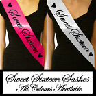 SWEET SIXTEEN SIXTEENTH 16 16TH BIRTHDAY PARTY GIFT PRESENT SASH ALL COLOURS