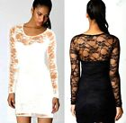 SEXY WOMEN LADIES BLACK FLORAL LACE LONG SLEEVE BODYCON PARTY DRESS TOP