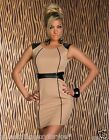 SEXY BEIGE MINI DRESS WITH LEATHER LOOK AND ZIP AT THE BACK.UK 10.12.14.