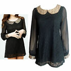 Black Lace Chiffon Sequin Detail Top In Size 10, 12, 16, 18