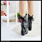 Women's Sexy Low Heel Mid Calf Boots Back Lace Up Shoes AU All Sz Y804