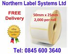 50mm x 25mm WHITE Direct Thermal Labels for Zebra, Citizen, Toshiba etc