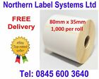 80mm x 35mm WHITE Labels for BROTHER TD-4000 / TD-4100N