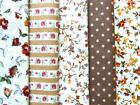 Beige Brown Tan Cream floral stripes spot Vintage 100% COTTON FABRIC dress craft