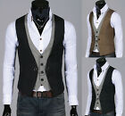 NEW ARRIVAL Mens Stylish Double Layered Button Waistcoats Vest 3 colour,UK 3SIZE