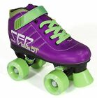 SFR Vision GT Kids/Junior Size Roller Derby Quad Roller Skates - Purple/Green