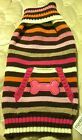 Adorable Wag-a-tude striped pink brown orange dog sweater - NEW - Dog Fashion