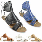 NEW WOMENS LADIES WHITE FLATS  STUDDED OPEN TOE ROMAN SANDALS SHOES SIZE UK 3-8