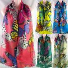 New Butterfly Print Scarf Hijab Shawl Wrap Sarong Dupatta Lady Soft Plain Floral