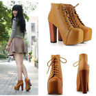 Neu 2013 Ladies Brown Lita Plattformen High Heels Lace Up Ankle Schuhe Stiefel
