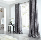 Sicily Curtains Luxury Faux Silk Silver Grey Embroidered Lined Eyelet Curtain
