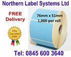 76mm x 51mm BLUE Direct Thermal Labels for Zebra, Citizen, Toshiba etc