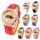 Rose Gold Case Bling Crystal Mustache Lady Leather Quartz Wrist Watch