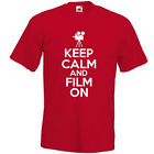 KEEP CALM AND FILM ON T-SHIRT joke funny filming movie actor camera video