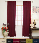 Rod Pocket Thermal Insulated Blackout Curtain 64 Inch Length Pair
