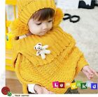 Baby Kid Toddler Girl Knit Crochet Winter Warm Hat & Cloak Caps Cape Shawl Wraps