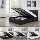 Faux Leather Bed Ottoman Storage Or Low Frame Black Brown White 3ft 4ft 4ft6 5ft