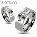 Solid titanium men's ring Cross Paved Multi CZs wedding band engagement ring