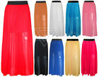 Ladies Womens Maxi Skirt Chiffon Gypsy Sheer Plain Long Maxi Dress Mini Skirt