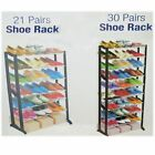 7 &10 Tiers Shoe Rack Stand, 21 & 30 Pairs Storage Organiser in Black Colour